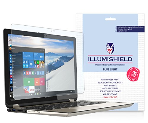 "iLLumiShield - Toshiba Satellite Radius 15.6"" Screen Protector (2015) w/ HD Blue Light UV Filter & Lifetime Warranty/Clear Film/Anti-Fingerprint/Anti-Bubble/Invisible Shield [1-Pack] Only P55W-B5112 -  ILS21017-BL"