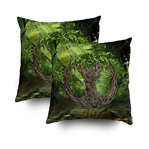 TOMWISH 2 Packs Hidden Zippered Pillowcase Celtic Tree of Life 18X18Inch,Decorative Throw Custom Cotton Pillow Case Cushion Cover for Home