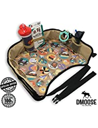 Toddler Car Seat Travel Tray by DMoose (16-Inch-by-13-Inch) - Reinforced Solid Surface, Sturdy Side Walls, Strong Buckles, Mesh Pockets - Waterproof Snack, Play & Learn Tray