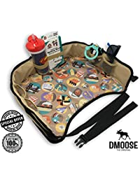 Toddler Car Seat Travel Tray by DMoose (16-Inch-by-13-Inch) – Reinforced Solid Surface, Sturdy Side Walls, Strong Buckles, Mesh Pockets – Waterproof Snack, Play & Learn Tray BOBEBE Online Baby Store From New York to Miami and Los Angeles