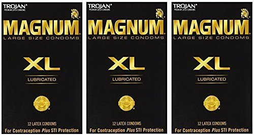 Trojan Magnum XL Extra Large Latex Condoms, Lubricated, 12-Count Boxes (Pack of - Magnum Latex Lubricated Condoms