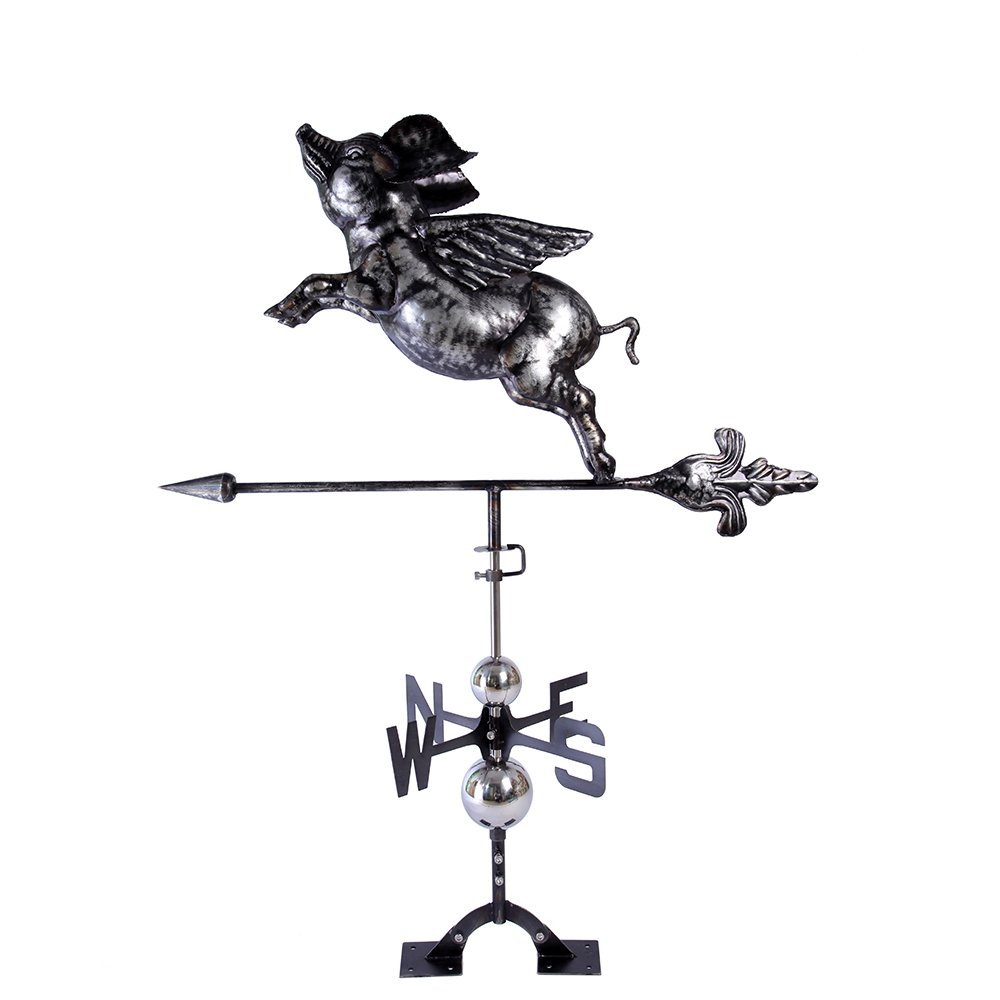 IORMAN Original Handcrafted Flying Pig Weathervane, Aged Matte Black Finish Weather Vane for Farmhouse Barn Rustic Outdoor