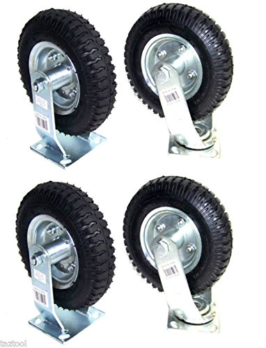 4pcs 8'' AIR TIRE CASTER WHEEL 2 RIGID 2 SWIVEL H-D PNEUMATIC