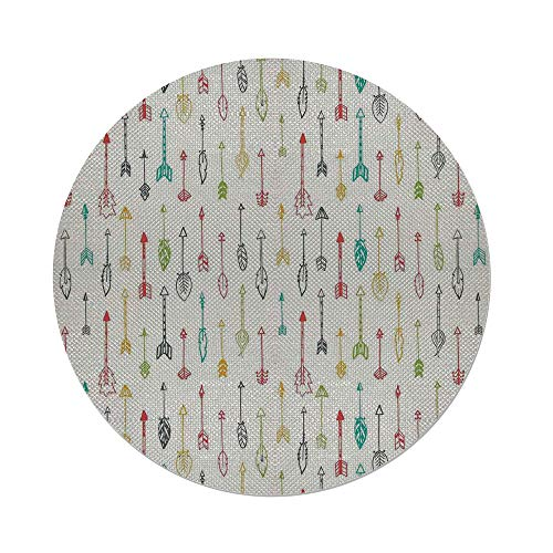 iPrint Cotton Linen Round Tablecloth,Arrow Decor,Color Pen Doodle Style Fun Art With Arrows Decorative,Dining Room Kitchen Table Cloth Cover (Beaded Pen Daisy)