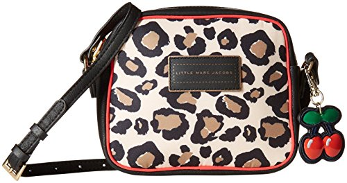 Price comparison product image Little Marc Jacobs Girls Leopard Print Purse with Cherry Charms,  Ecru / Beige