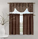 Videira Gold Leaf Embroidery Kitchen Curtain Set Valance Tiers (Chocolate Brown) Review