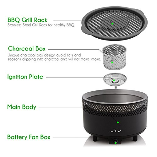 NutriChef Upgraded Charcoal BBQ Grill - Smokeless Portable Outdoor Stainless Steel Compact Easy Cleaning Heavy Duty - Battery Powered W/ Grilling Rack Coal Basket Ignition Tray & Box Set - PKGRCH41 by NutriChef (Image #1)'