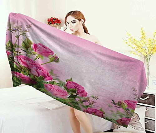 Anniutwo Flower,Baby Bath Towel,Spring Season Time Roses Leaves Buds Pink Ombre Atmosphere Image,Print Wrap Towels,Pink Green Size: W 10