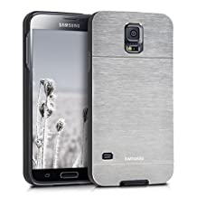 kwmobile Premium hard case for Samsung Galaxy S5 / S5 Neo / S5 LTE+ / S5 Duos with reinforced back of brushed aluminium in silver