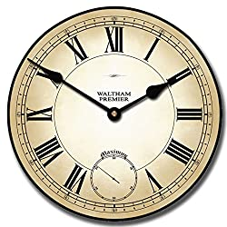 Waltham Parchment Wall Clock, Available in 7 Sizes, Whisper Quiet, Non-Ticking