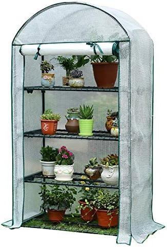 4層ミニ温室、PEカバーおよびロールアップジッパードア、ポータブル植物花棚テント、屋内/屋外ガーデニング