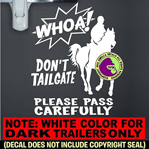 WHOA! DON'T TAILGATE ENDURANCE On Board Caution Trailer Vinyl Decal Sticker A