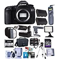Canon 5DS R DSLR Camera Body - Bundled w/Camera Bag, 64GB SDXC Card, 32GB CF card, Clean Kit, Battery Grip, Screen Protector, Remote Shutter Trigger, Spare Battery, Software Package, Tripod & More