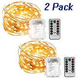 2 Set 33ft 100 Led Fairy String Lights,Copper Wire Battery Operated Waterproof Lights with Remote,8 Mode Lighting for Décor Halloween Christmas Centerpiece Party Bedroom(Warm White)