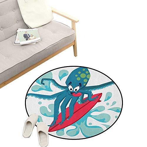 Ride The Wave Round Rug ,Surfer Octopus Having Fun Ocean Waves Underwater Fish Print, Flannel Microfiber Non-Slip Soft Absorbent 23