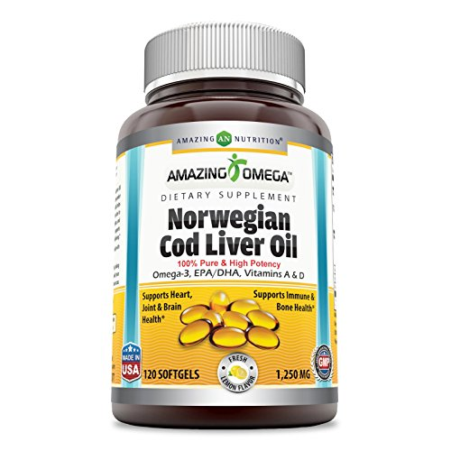 Norwegian Cod Liver Oil Lemon - Amazing Omega Norwegian Cod Liver Oil - 1250 mg, 120 Softgels - Purest & Best Quality Cod Liver Oil, Extracted Under Strict Quality Standards from Around The Waters of Norway (Fresh Lemon Flavor)