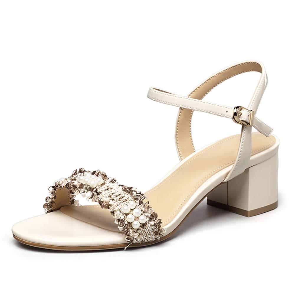 Beige Sandals, Summer Elegant Pearls with High Heel Sandals, bluee Beige Black 4.7cm (color   Black, Size   5.5 US)
