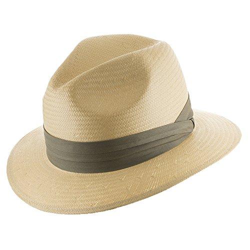 Ultrafino Monte Cristo Straw Fedora Panama Hat NATURAL WITH KHAKI HATBAND 7 1/8
