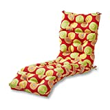 Greendale Home Fashions Indoor/Outdoor Chaise Lounger Cushion, 72-Inch, Flowers on Red