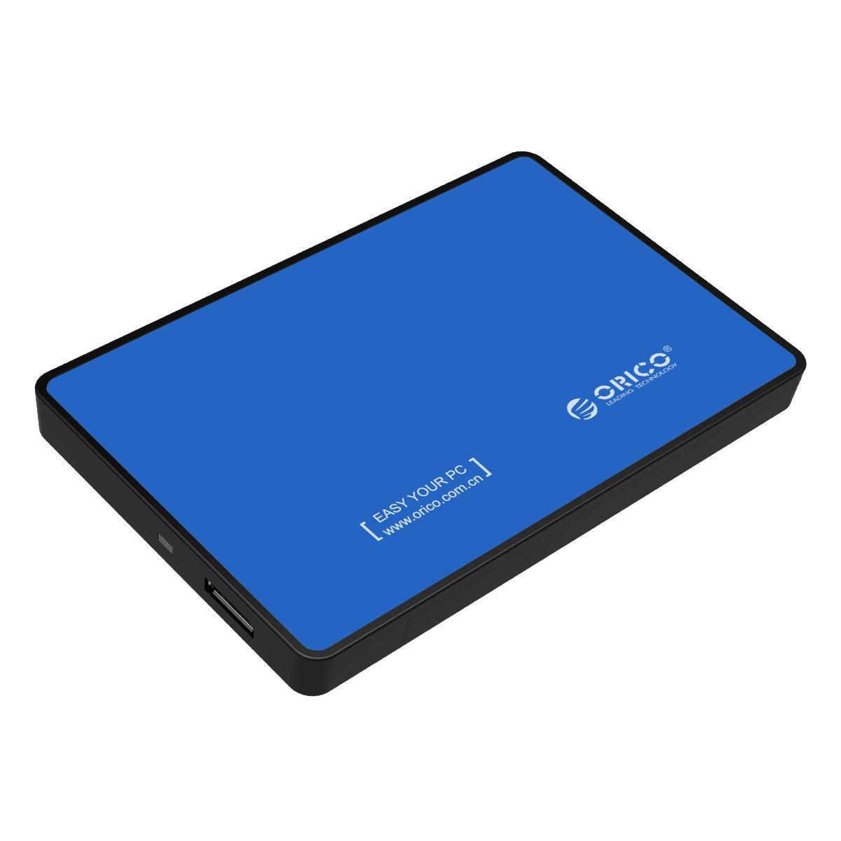 ORICO - 2,5 Pulgadas USB 3.0 Carcasa Disco Duro Interno a Externo - Libre de Herramientas para SATA HDD/SSD de 9.5mm y 7mm - LED Indicador - BLU