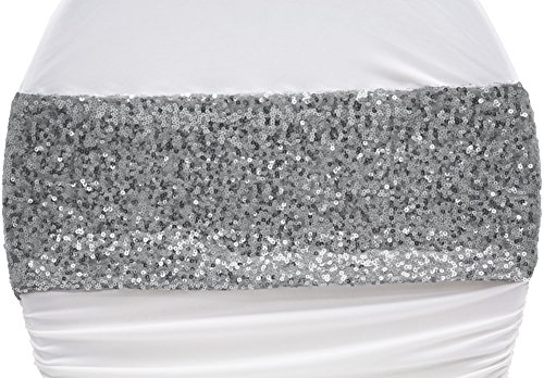 10 Pk, Glitz Sequin Spandex Chair Band Approx. 5 inch wide x 12 inch length (unstretched) - (Silver Sequin Band)