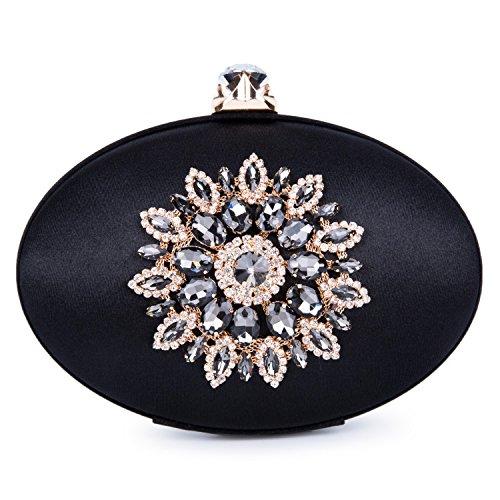 Bag Women Oval Blue Floral Diamante Party Crystal Handbags Purse Bridal Evening VESIA Clutches Tote Black Wedding Ladies Vintage AwqydI