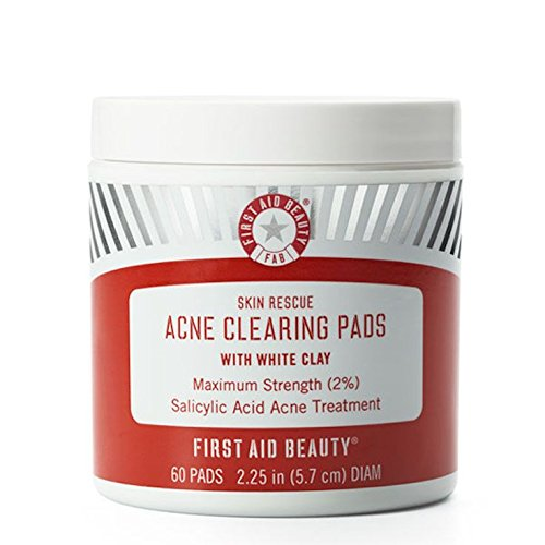 - First Aid Beauty Skin Rescue Acne Clearing Pads with White Clay, 60 Pads