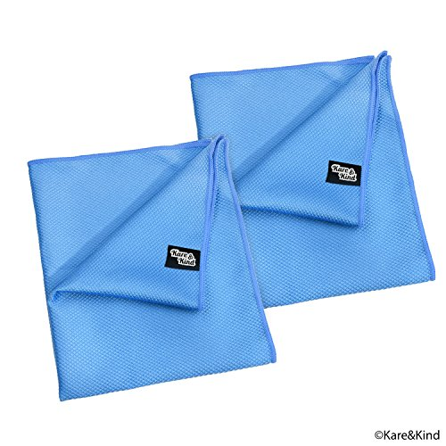 Large 20x16 Inch Microfiber Cleaning Cloth (2 Pack) for Polishing Stainless Steel and Glass to a Perfect Shine - Requires No Cleaning Detergent - Ideal for Kitchen Appliances, Windows, Screens, ()
