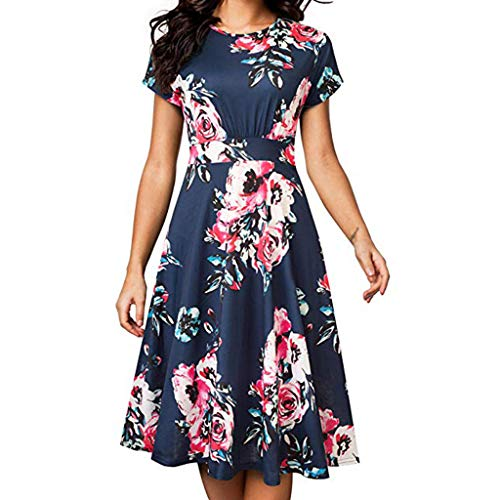 - HULKAY Short Sleeve Dresses for Women丨Summer New Boho Floral A-Line Swing Dress丨Womens Casual Pleated Evening Party Dress(Navy,S)
