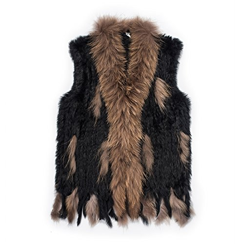 Warm Soft Mongolian Real Rabbit Black Fur Vest Jacket ()