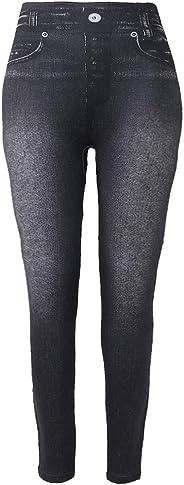 Zeiwohndc Women Fleece Lined Winter Jeggings Seamless Faux Jeans Denim Slim Pencil Pants with