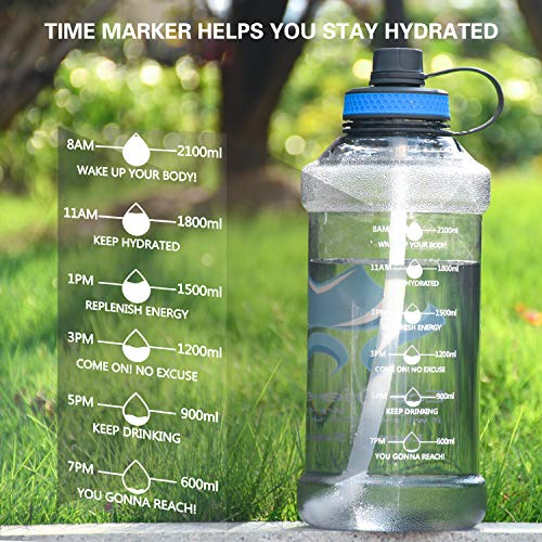 BPA Free Motivational 100OZ Water Bottle with Straw Time Marker, Reusable Marked Water Bottles Leak Proof for Gym Hiking Camping, Large Sports Water Bottle for Men Women Girls