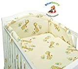 BlueberryShop 2 pcs BABY COT BED BUNDLE BEDDING SET DUVET+PILLOW COVERS 90 x 120 cm (35.5'' x 47'') ( 0-7Yrs ) ( 120 x 90 cm ) Cream Giraffe