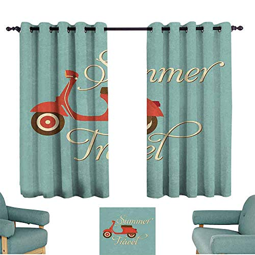 - Mannwarehouse 1960s Decorations Bedroom Curtain Summer Travel Scooter Vacation Vespa Classic Wheels Rock Cool Cycle Hippy Motorbike Design Darkening and Thermal Insulating 72