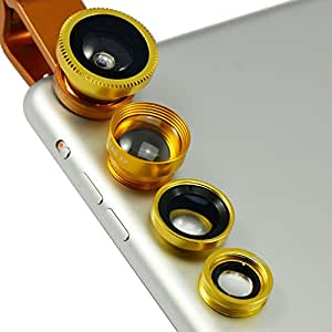 First2savvv JTSJ-4N1-A15teléfono móvil Universal 4en 1Clip Kit camera lens Color Amarillo de cristal profesional (ojo de pez, gran angular, macro y barlow) para Alcatel Snap Fire Pixi Snap LTE IDOL X IDOL S IDOL MINI POP C3POP C5POP C1HERO POP C7with Lens Cleaning Cloth