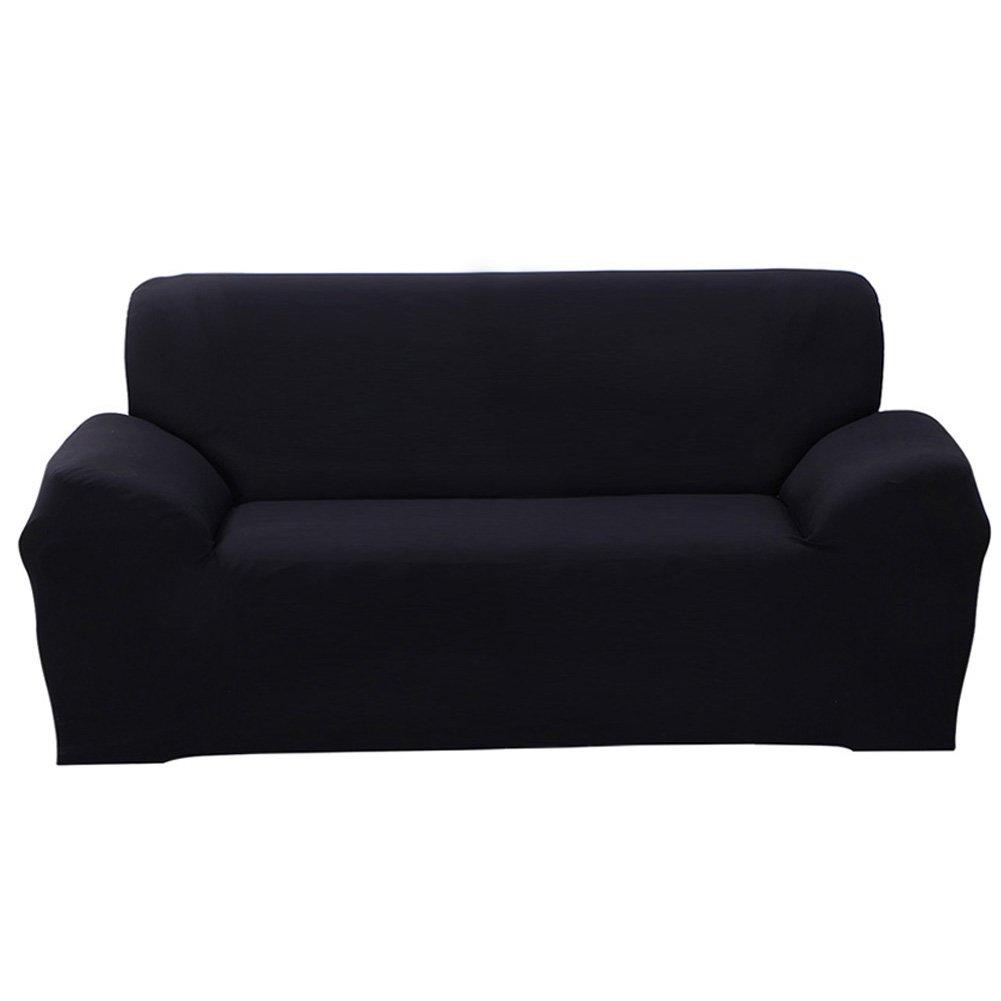 SHANNA Funda de sofá 1 2 3 4 Funda de sofá Funda de Asiento Antideslizante sofá sofá sofá elástico Tejido Protector por, Negro, 3-Seater Chair + 1pcs ...