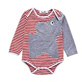 NUWFOR Newborn Infant Baby Girl Boy Elephant Striped Bodysuit Romper Clothes(Red,9-12 Months)
