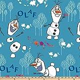 Diseny Frozen 2 Fleece Olaf Toss Blue Fabric by the Yard