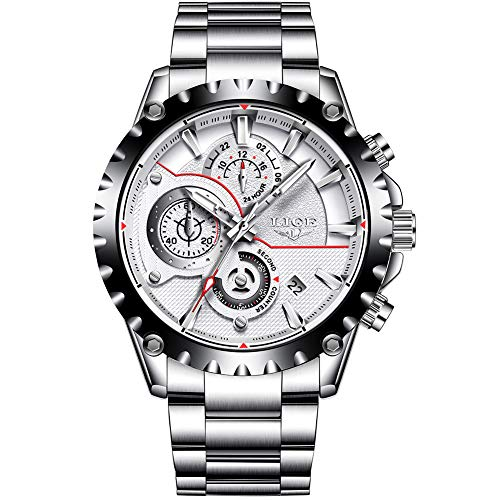 Chronograph White Flight Dial (Mens Watches Sport Waterproof Fashion Quartz Analog Stainless Steel Watch Men Luxury Brand LIGE Business Black Wristwatch with Luminous Date Chronograph)