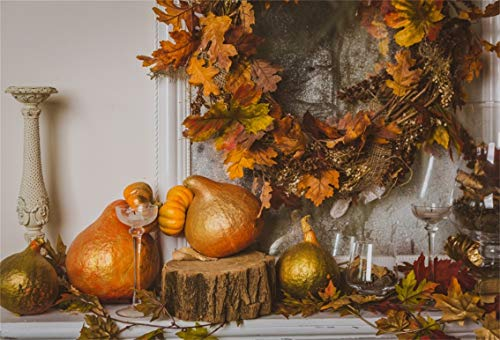 Leyiyi 9x6ft Happy Thanksgiving Day Backdrop Autumn Marple Leaves Garland Pumpkins Harvest Rustic Barn Western Farmhouse Photography Background Cowboy Adults Portrait Studio Prop Vinyl Wallpaper ()