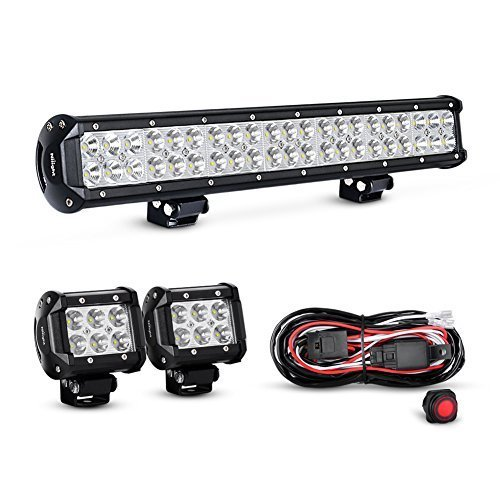 Combo Light Bar (Nilight ZH002 20Inch 126W Flood Combo Road Light Bar 2PCS 18w 4Inch Spot LED Pods with 16AWG Wiring Harness Kit-2 Lead, 2 Years Warranty)