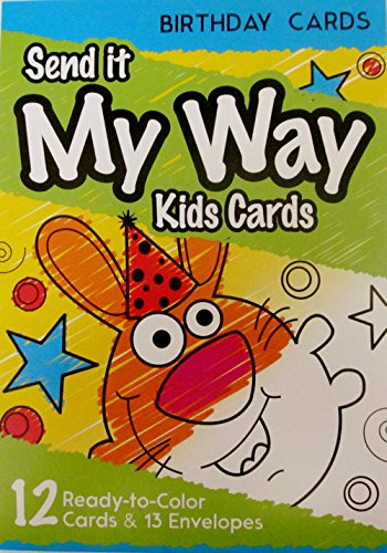 SEND IT MY WAY KIDS CARDS, 12 Color-In Birthday or Thank You Variety Packs