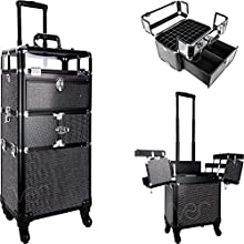Ver Beauty Professional Rolling Makeup Train Case, Heavy Duty Hair Stylist & Makeup Artist Travel Case with Extendable Trays, Black Krystal