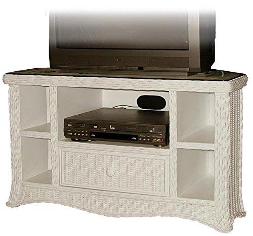 Florentine Whitewash Rattan and Wicker Corner TV Stand with DVD Shelf
