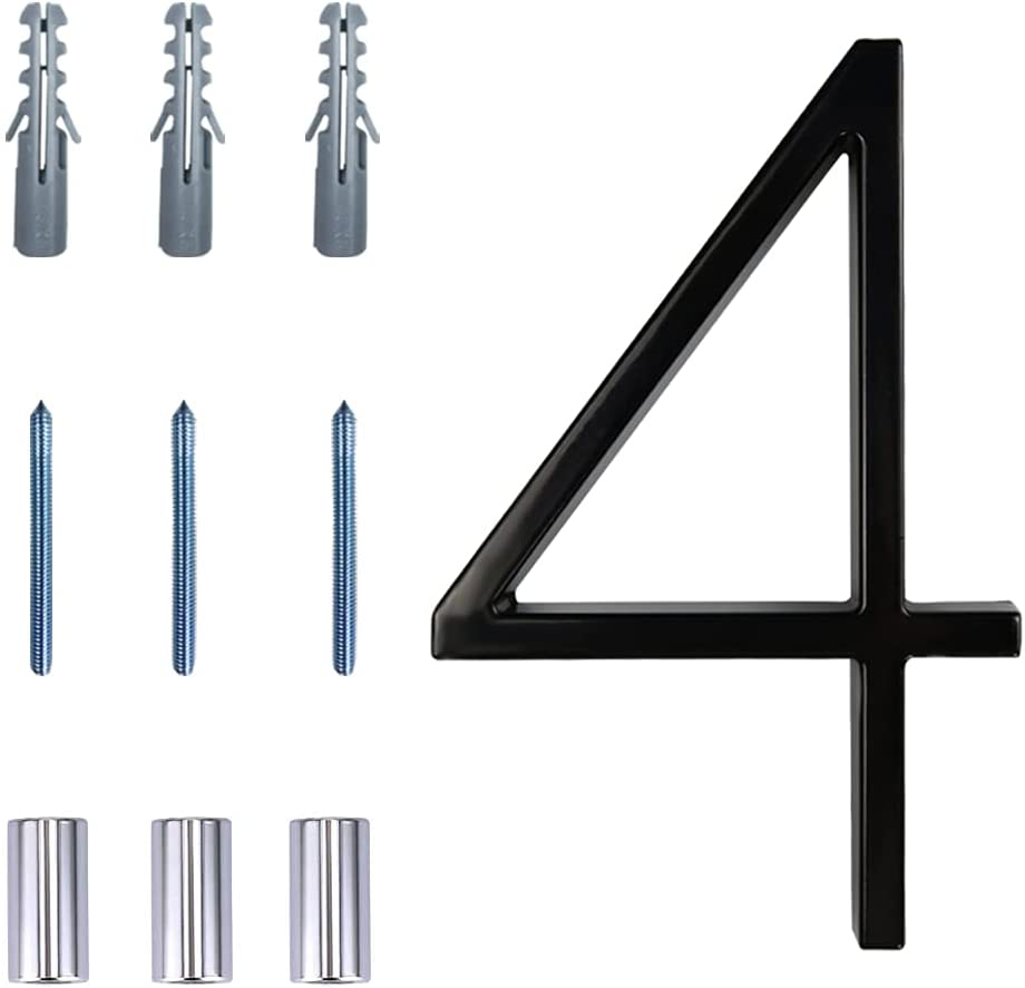 Floating House Number Modern House Numbers 5 inch, Deamos Zinc Alloy Home Address Number for House with Reflective Finish Black Floating Mount or Flush Mount Zinc Alloy [Number 4]