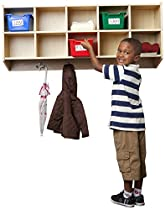 ECR4Kids 10-Section Hanging Coat Locker with Assorted Color Bins
