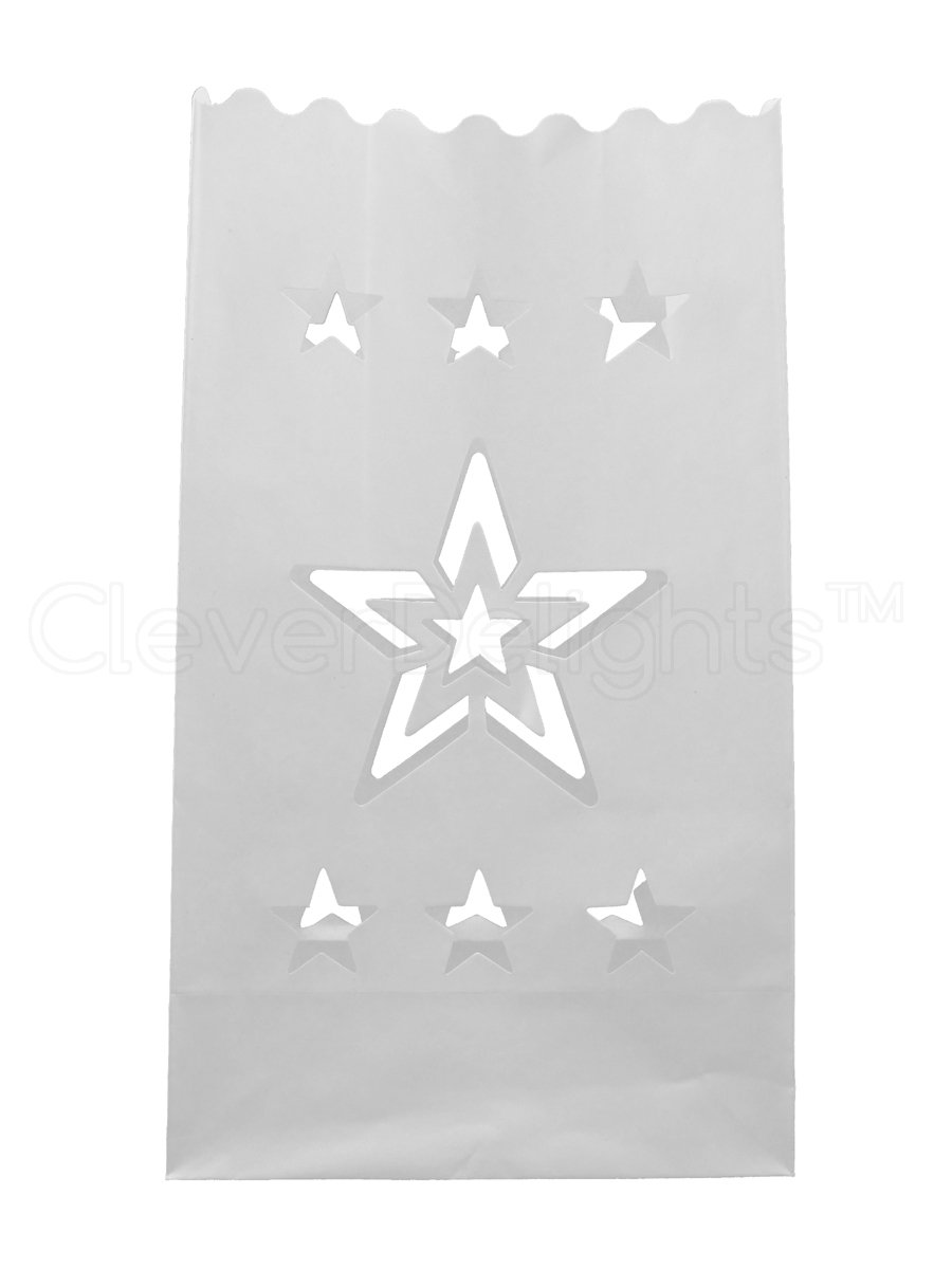 CleverDelights White Luminary Bags - 50 Count - Star Design - Flame Resistant Paper - Wedding, Reception, Party and Event Decor - Luminaria Candle Bag