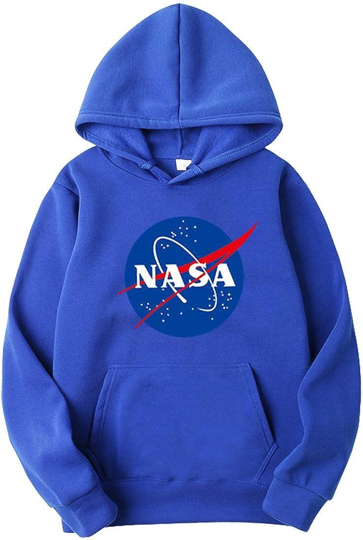 OLIPHEE Sudaderas con Capucha Impresi/ón Logo de NASA Sudaderas Casual para Hombre