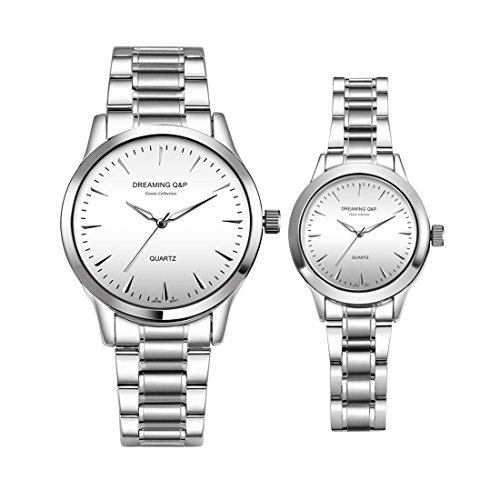 Valentine's Romantic His and Hers Wrist Watches,fq240 Silver Stainless Steel Pair Wristwatches for Men Women White Face Set of 2 by DREAMING Q&P