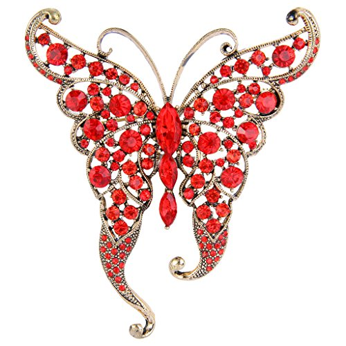Butterfly Ruby Brooch (EVER FAITH Women's Austrian Crystal Elegant Butterfly with Long Wing Brooch Red Gold-Tone)